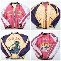 Cute Kawaii Pink Yellow Vintage Japanese Japan Tailor Toyo Hotrod Chevy Lover Classic Car Tiger Tora Tattoo Art Embroidery Embroidered Bomber Sukajan Souvenir Jacket - Japan Lover Me Store