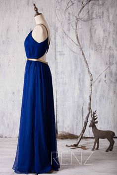 2015 Long Bridesmaid dress Royal Blue Wedding dress por RenzRags