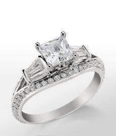 Think baguette along the split shank instead of rounds. Monique Lhuillier Tapered Baguette Diamond Engagement Ring in Platinum Baguette Engagement Ring, Diamond Engagement Rings, Monique Lhuillier, Blue Nile Jewelry, Lisa, Baguette Diamond, Baguette Ring, Diamond Are A Girls Best Friend, Bridal