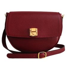 THE CODE HANDBAGS Oval Burgundy Bag (150 CAD) ❤ liked on Polyvore featuring bags, handbags, shoulder bags, bolsas, сумки, red, genuine leather purse, red leather shoulder bag, leather purse and leather flap purse