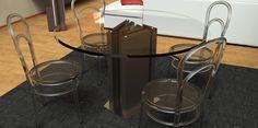 0007 MANHATTAN Medium | Table à manger en Cocciostone, avec plan en crystal de 15 mm et base en acier. Disponible aussi en version réduite comme table basse.