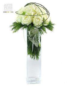 Composizione floreale fiori artificiali in tessuto: Bouquet Rose bianche in vaso vetro