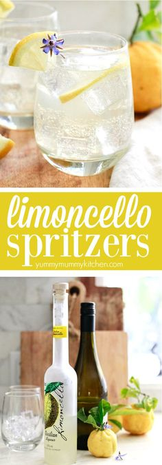 Limoncello spritzers are such fun and tasty Italian inspired cocktails! These easy limoncello prosecco spritzers are the perfect drink for spring and summer parties! A delicious and easy Italian lemon cocktail spritzer made with limoncello and prosecco. Limoncello Cocktails, Italian Cocktails, Drinks With Lemoncello, Italian Margarita, Summer Drinks, Fun Drinks, Healthy Drinks, Alcoholic Drinks, Summer Parties