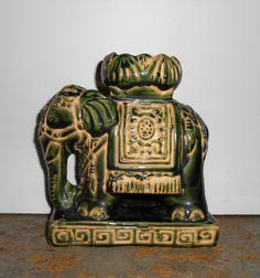Vintage Figurine, Elephant, Candle Holder, Green, Moriage, Incense Burner, Mid Century, Satsuma, Asian, Satsuma Style, Collectibles by TheBackShak on Etsy