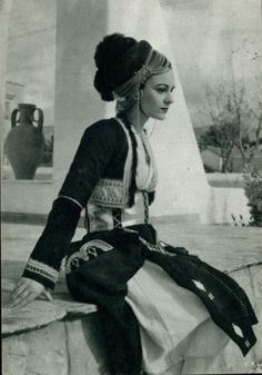 Woman with traditional costume from Roumlouki,Macedonia,Greece Macedonia Greece, Athens Greece, Greek Traditional Dress, Traditional Outfits, Greek Girl, Greek Woman, Greece Pictures, Kai, Greek Culture