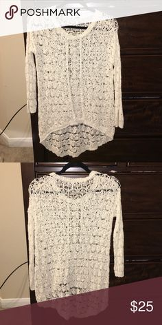 lace sweater super cute! can change it up by wearing different colored tanks underneath. don't remember where i purchased from. size xs but i'm a small and it fits fine. covers your butt in leggings PacSun Sweaters