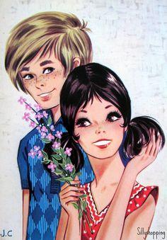 Vintage Big Eyed Couple Postcard   Flickr - Photo Sharing!