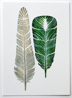 Watercolor Art Feather Painting - Modern Home Decor - Archival Print - 5x7 Dharma Feathers