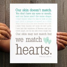 We Match Hearts - Teal Ombre Typography Wall Art - Adoption Quote. $15.00, via Etsy.
