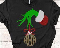 Unique files for Cricut & Silhouette! Diy Grinch Shirt, Grinch Shirts, Christmas Tee Shirts, Christmas Vinyl, Christmas Mom, Monogram Stickers, Monogram Shirts, Vinyl Shirts, The Grinch