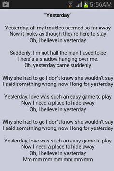 beatles lyrics yesterday - 236×354