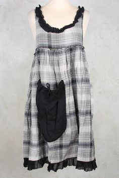 Jeanine Check Frill Dress in Black Check - Les Ours