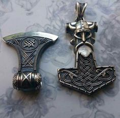 The Axe of Perun and Mjollnir Hammer of Thor #vikingjewelry