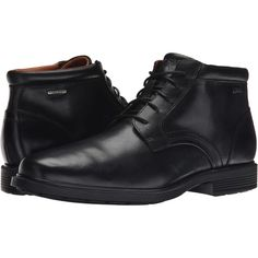 Rockport Dressports Luxe Waterproof Chukka (Black) Men's Lace-up Boots ($95) ❤ liked on Polyvore featuring men's fashion, men's shoes, men's boots, black, rockport men's boots, men's slip resistant shoes, mens black boots, mens water proof boots and mens waterproof leather boots