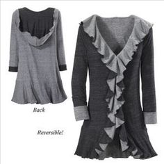 Black and Gray Reversible Hooded Jacket - New Age & Spiritual Gifts at Pyramid Collection.another my mom would look good in too! Vest Jacket, Hooded Jacket, Pyramid Collection, Unique Clothes For Women, Fru Fru, Trench, Jeans, Black And Grey, Jackets For Women