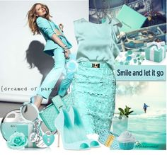 """""""CHALK Colors : Tiffany's Blue & Mint"""" by mercanici on Polyvore"""
