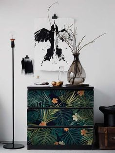 MALM Dresser skin ikea, Dark tropical leaves Sticker, PACK OF 3, Tropic, Exotic commode, Repositionable, Covering, Furniture #5M