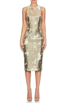 A glistening gold sequin midi dress featuring a classic neckline and racer back. - Designed in Australia - Exposed Metal Zipper - Fully Lined - Piping trim along armhole and neckline - CB Body length Sequin Midi Dress, Sequins, Formal Dresses, Cotton, Shopping, Collection, Clothing, Style, Fashion