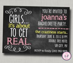 Bachelorette party invitation printable- chalkboard bachelorette invite- about to get real- lingerie shower- cheeky bachelorette invite on Etsy, $9.58 CAD @Mary Powers Brock