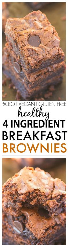 Healthy Four Ingredient Breakfast Brownies- You won't believe these flourless brownies have no butter, oil or sugar yet are moist, gooey and tender! Freezer friendly too! {vegan, gluten free, paleo recipe}- thebigmansworld.com