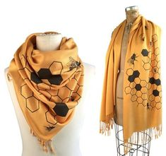 """Large Beehive """"Oh Honey"""" soft pashmina. Perfect for bee keepers, apiary gift, fans of honey bees. Pashmina Scarf, Bee Jewelry, Queen Bees, Bee Keeping, Look Cool, Just In Case, Creations, Honey Bees, Unique Fashion"""