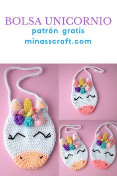 bolsa unicornio a crochet patrón gratis