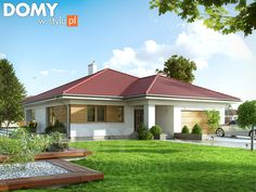 Projekt domu Amika on Behance Modern Bungalow House Design, Bungalow House Plans, House Floor Plans, 4 Bedroom House Plans, Garden Tub, Architect House, Types Of Houses, Residential Architecture, Home Fashion