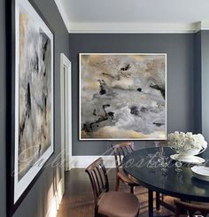 45''x45'', Watercolor Abstract Print, Goldleaf, Gold and Black Art, Large Wall Art, Gray White, Art for Large Spaces, Gray Painting Canvas