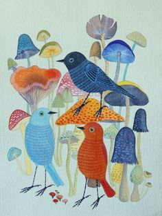 A bird parade on the blog today! Colorful works by Geninne, posted on ArtisticMoods.com: http://www.artisticmoods.com/geninne/