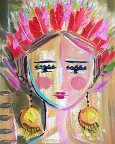 """Items similar to Warrior Girl Print woman art impressionist modern abstract girl paper or canvas """"Joy"""" on Etsy Abstract Face Art, Abstract Portrait, Original Paintings, Original Art, Art Paintings, Painting Art, Frida Art, Warrior Girl, Painting Inspiration"""