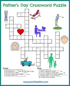 Father's Day Crossword Puzzle crafts and game activity fun diy idea for kids