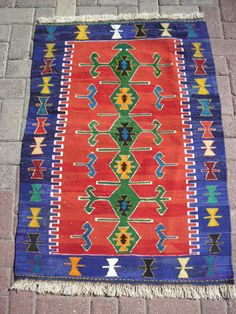 Turkish Anatolian Kilim Rug Vegitable and Natural Color Wool on Wool 47,1 by 32,4 inches (120cm by 83cm)