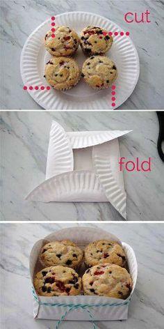 Having Home ไอเดียตกแต่งบ้าน DIY: Turn a paper plate into cupcake holder.  ไอเดียทำกล่องใส่ขนมจากจานกระดาษ เพิ่มความน่ารักเวลาจัดงานปาร์ตี้ได้ดีเลย