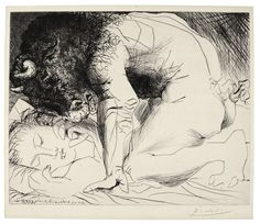 Pablo Picasso  1881 - 1973  MINOTAURE CARESSANT UNE DORMEUSE (B. 201; BA. 369)  Drypoint, 1933, from la suite Vollard, printing with rich burr, signed in pencil, from the total edition of 310, on Montval laid paper with the Vollard watermark, published by Vollard, Paris, framed  plate: 296 by 364mm 11 5/8 by 14 3/8 in  sheet: 340 by 444mm 13 3/8 by 17 1/2 in  picasso, pablo minotaure caressan ||| prints ||| sotheby's l17160lot6hwqjen