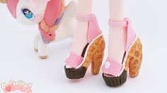 Cupcake's waffle cone shoes. Detail shot of custom doll by Dollightful