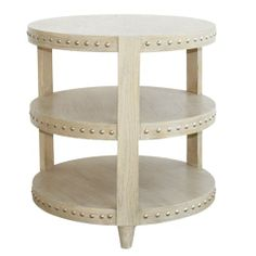 Worlds Away Nora Limed Oak Side Table