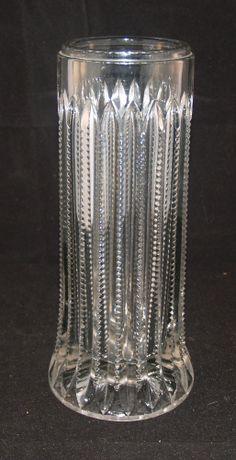 ANTIQUE GLASS ZIPPER EAPG PATTERN GLASS SODA FOUNTAIN COUNTER STRAW HOLDER