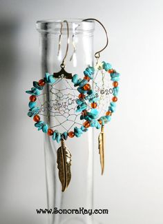 Turquoise and Amber Dream Catcher Earrings by SonoraKayCreations, $30.00