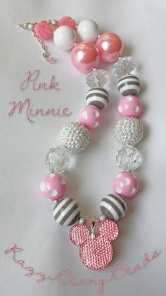 Minnie Mouse Necklace - Adjustable Chunky Beaded Gumball Acrylic Necklace