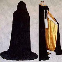 Capa Com Capuz De Veludo Com Capuz Wicca Bruxaria Medieval Renascença Robe LARP Cape