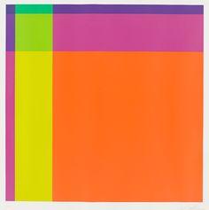 """Richard Paul Lohse 1902 Zürich – 1988 Zürich  """"Diagonal von orange über hellgrün zu dunkelblau """". 1975 Farbserigraphie auf Karton. 59 × 59 cm ( 63,8 × 63,8 cm) (23 ¼ × 23 ¼ in. ( 25 ⅛ × 25 ⅛ in.)) Signiert. Lohse/ James/ Wiedller 085. Künstlerabzug außerhalb der numerierten Gesamtauflage von 130 Exemplaren. Edition Düsseldorfer Devisen-Börse-Helmut M. Schmidt-Siegel, Düsseldorf 1975. X  [3158]  EUR 300 – 400"""