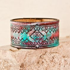 Leather cuff- Red, White, and Turquoise