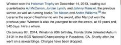Jameis Winston's Wikipedia page was subject to heavy trolling after National Championship game Championship Game, National Championship, Sports Fails, Johnny Manziel, Heisman Trophy, Previous Year, Freshman, Teaching, Amen
