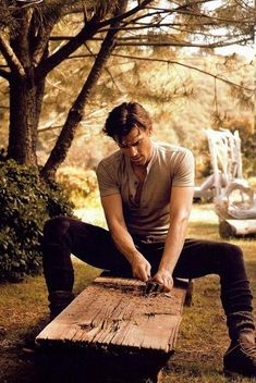 Matt Bomer -- Excuse me, sir, but woodworking is not allowed.  You can put that on the list with wearing fedoras and being in cars.