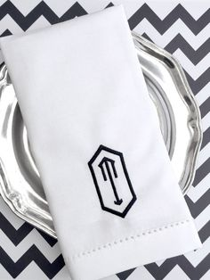 Monogrammed Embroidered Cloth Napkins Set of 4 Claire