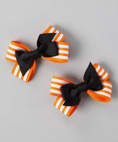 Take a look at this Orange & Black Stripe Bow Clip Set by Festive Fifi on #zulily today!