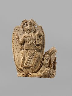 Tusk Fragment with the Ascension of Christ. 810-1010 AD  Found in Egypt,ivory carved-