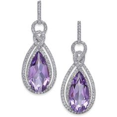 Amethyst (6 ct. t.w.) & White Topaz (1/2 ct. t.w.) Drop Earrings in... ($730) ❤ liked on Polyvore featuring jewelry, earrings, purple, teardrop earrings, sterling silver drop earrings, purple amethyst earrings, sterling silver teardrop earrings and tear drop earrings