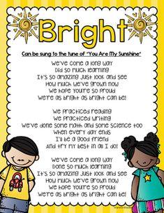 "Kindergarten Graduation song lyrics sung to ""You Are My Sunshine."""