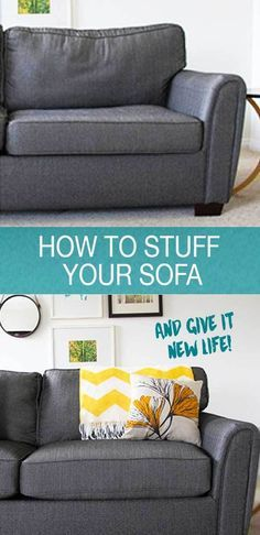 How to stuff your sofa and give it new life! A few tips with foam and fibre fill and you'll have your couch feeling brand new! Easy tutorial at www.freshcrush.com